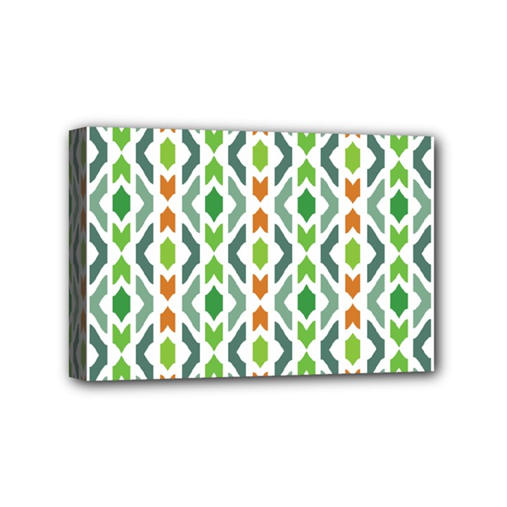 Chevron Wave Green Orange Mini Canvas 6  x 4