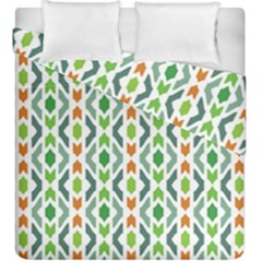 Chevron Wave Green Orange Duvet Cover Double Side (king Size) by Alisyart