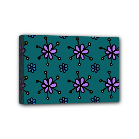 Blue Purple Floral Flower Sunflower Frame Mini Canvas 6  X 4  by Alisyart