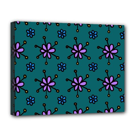 Blue Purple Floral Flower Sunflower Frame Canvas 14  X 11  by Alisyart