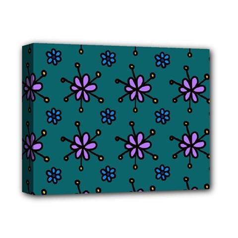 Blue Purple Floral Flower Sunflower Frame Deluxe Canvas 14  X 11  by Alisyart