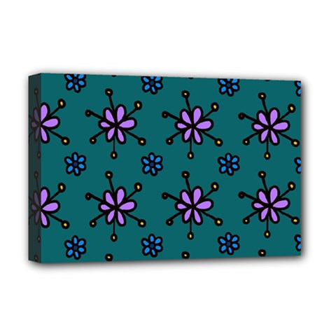 Blue Purple Floral Flower Sunflower Frame Deluxe Canvas 18  X 12   by Alisyart