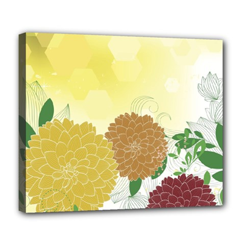 Abstract Flowers Sunflower Gold Red Brown Green Floral Leaf Frame Deluxe Canvas 24  X 20   by Alisyart