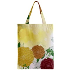 Abstract Flowers Sunflower Gold Red Brown Green Floral Leaf Frame Zipper Classic Tote Bag by Alisyart