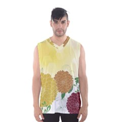 Abstract Flowers Sunflower Gold Red Brown Green Floral Leaf Frame Men s Basketball Tank Top by Alisyart