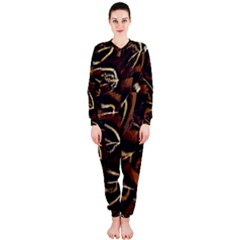 Feathers Bird Black Onepiece Jumpsuit (ladies)  by Simbadda