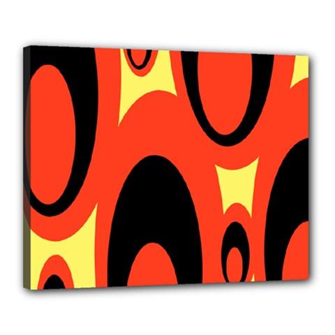 Circle Eye Black Red Yellow Canvas 20  X 16  by Alisyart
