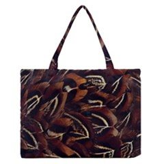 Feathers Bird Black Medium Zipper Tote Bag by Simbadda