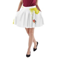 Fish Underwater Yellow White A Line Pocket Skirt by Simbadda