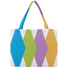 Chevron Wave Triangle Plaid Blue Green Purple Orange Rainbow Mini Tote Bag by Alisyart