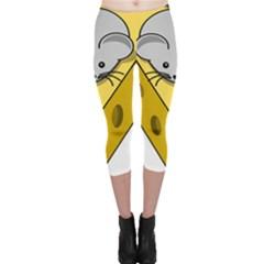 Cheese Mose Yellow Grey Capri Leggings  by Alisyart