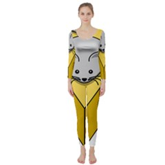 Cheese Mose Yellow Grey Long Sleeve Catsuit by Alisyart