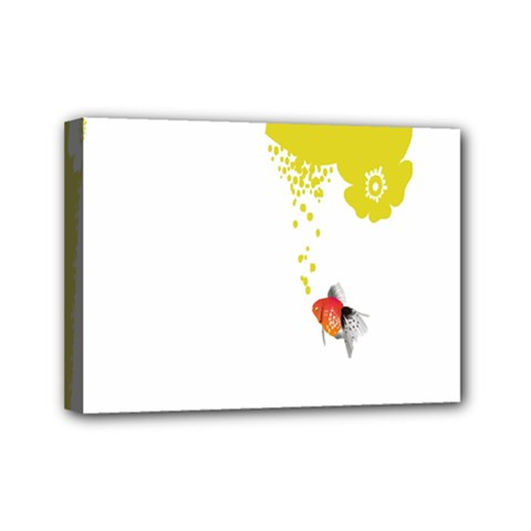 Fish Underwater Yellow White Mini Canvas 7  X 5  by Simbadda