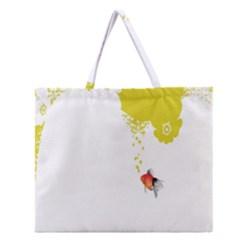 Fish Underwater Yellow White Zipper Large Tote Bag by Simbadda