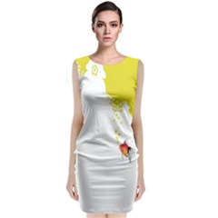 Fish Underwater Yellow White Classic Sleeveless Midi Dress by Simbadda