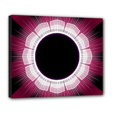 Circle Border Hole Black Red White Space Deluxe Canvas 24  X 20   by Alisyart