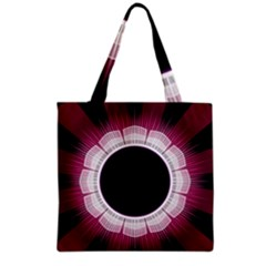 Circle Border Hole Black Red White Space Grocery Tote Bag by Alisyart