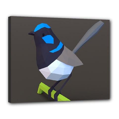 Animals Bird Green Ngray Black White Blue Canvas 20  X 16  by Alisyart