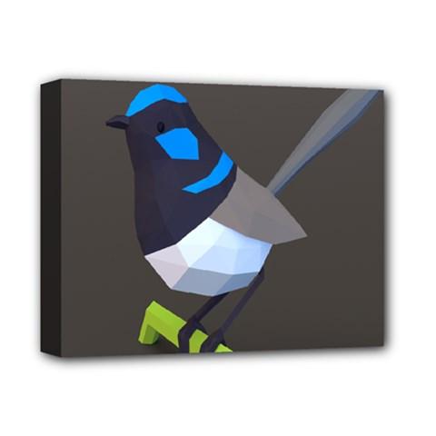 Animals Bird Green Ngray Black White Blue Deluxe Canvas 14  X 11  by Alisyart