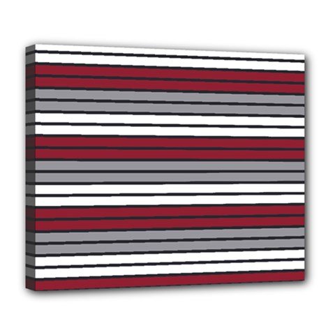 Fabric Line Red Grey White Wave Deluxe Canvas 24  X 20   by Alisyart