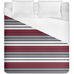 Fabric Line Red Grey White Wave Duvet Cover (king Size) by Alisyart