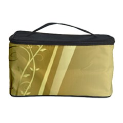 Golden Wave Floral Leaf Circle Cosmetic Storage Case by Alisyart