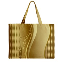 Golden Wave Floral Leaf Circle Zipper Mini Tote Bag by Alisyart