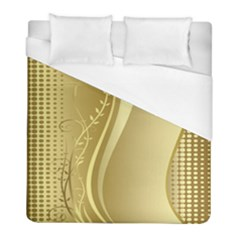 Golden Wave Floral Leaf Circle Duvet Cover (full/ Double Size) by Alisyart
