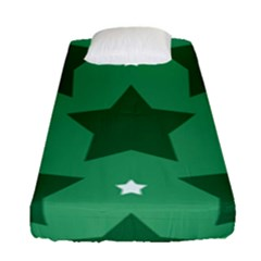 Green White Star Fitted Sheet (single Size) by Alisyart