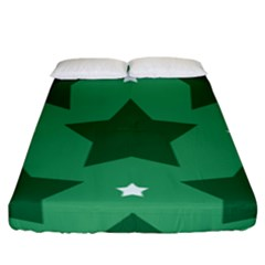 Green White Star Fitted Sheet (king Size) by Alisyart