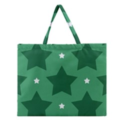 Green White Star Zipper Large Tote Bag by Alisyart