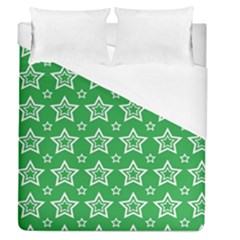 Green White Star Line Space Duvet Cover (queen Size) by Alisyart