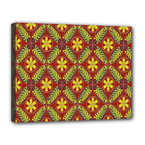 Abstract Yellow Red Frame Flower Floral Canvas 14  X 11  by Alisyart