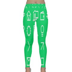 Icon Sign Green White Classic Yoga Leggings by Alisyart