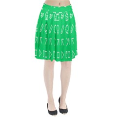 Icon Sign Green White Pleated Skirt