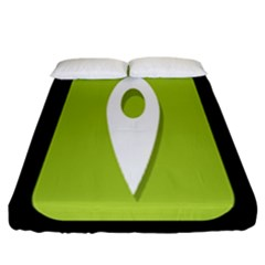 Location Icon Graphic Green White Black Fitted Sheet (california King Size) by Alisyart