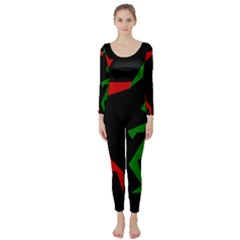 Ninja Graphics Red Green Black Long Sleeve Catsuit by Alisyart