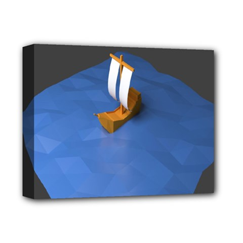 Low Poly Boat Ship Sea Beach Blue Deluxe Canvas 14  X 11  by Alisyart