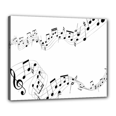 Music Note Song Black White Canvas 20  X 16  by Alisyart