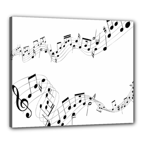 Music Note Song Black White Canvas 24  X 20  by Alisyart