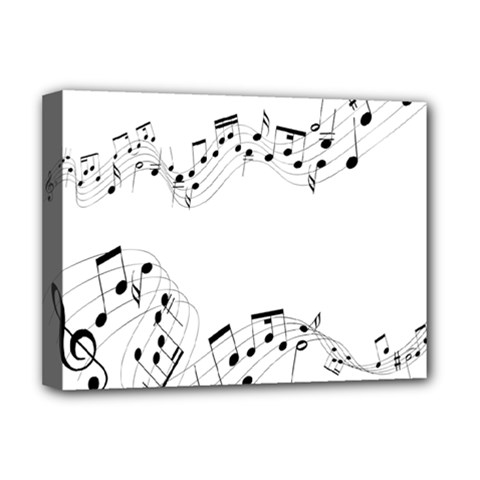 Music Note Song Black White Deluxe Canvas 16  X 12   by Alisyart
