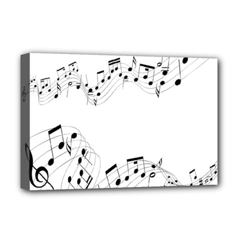 Music Note Song Black White Deluxe Canvas 18  X 12   by Alisyart