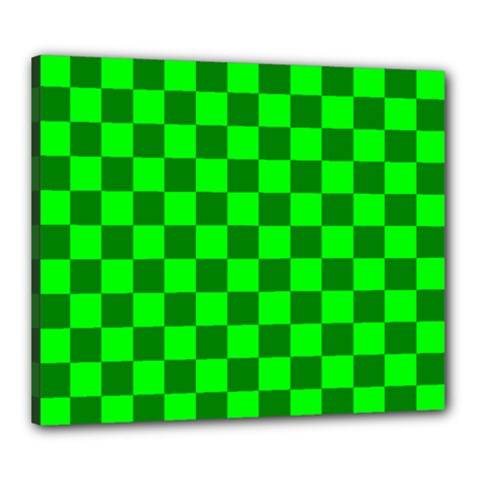 Plaid Flag Green Canvas 24  X 20  by Alisyart