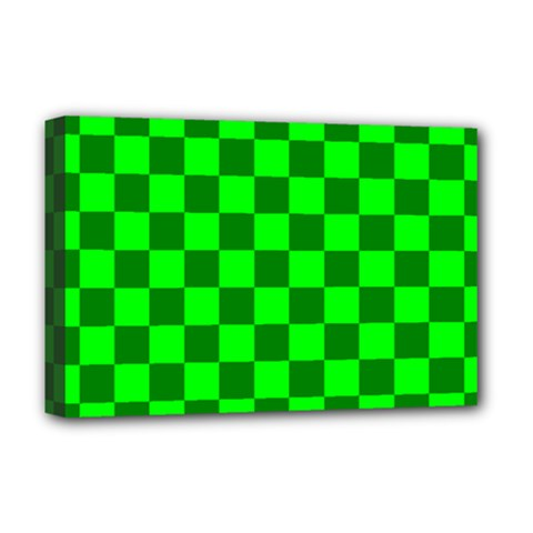 Plaid Flag Green Deluxe Canvas 18  X 12   by Alisyart