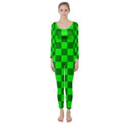 Plaid Flag Green Long Sleeve Catsuit by Alisyart