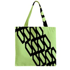 Polygon Abstract Shape Black Green Zipper Grocery Tote Bag by Alisyart