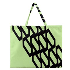 Polygon Abstract Shape Black Green Zipper Large Tote Bag by Alisyart
