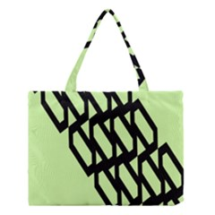 Polygon Abstract Shape Black Green Medium Tote Bag by Alisyart