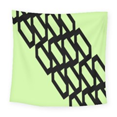 Polygon Abstract Shape Black Green Square Tapestry (large) by Alisyart