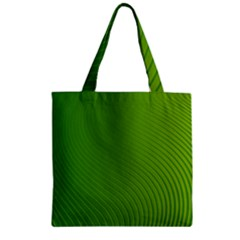 Green Wave Waves Line Zipper Grocery Tote Bag by Alisyart